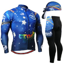 Spring Summer Men's Long Sleeve Cycling Jersey Sets Breathable 3D Padded Bicycle Sportswear Cycling Clothings Blue