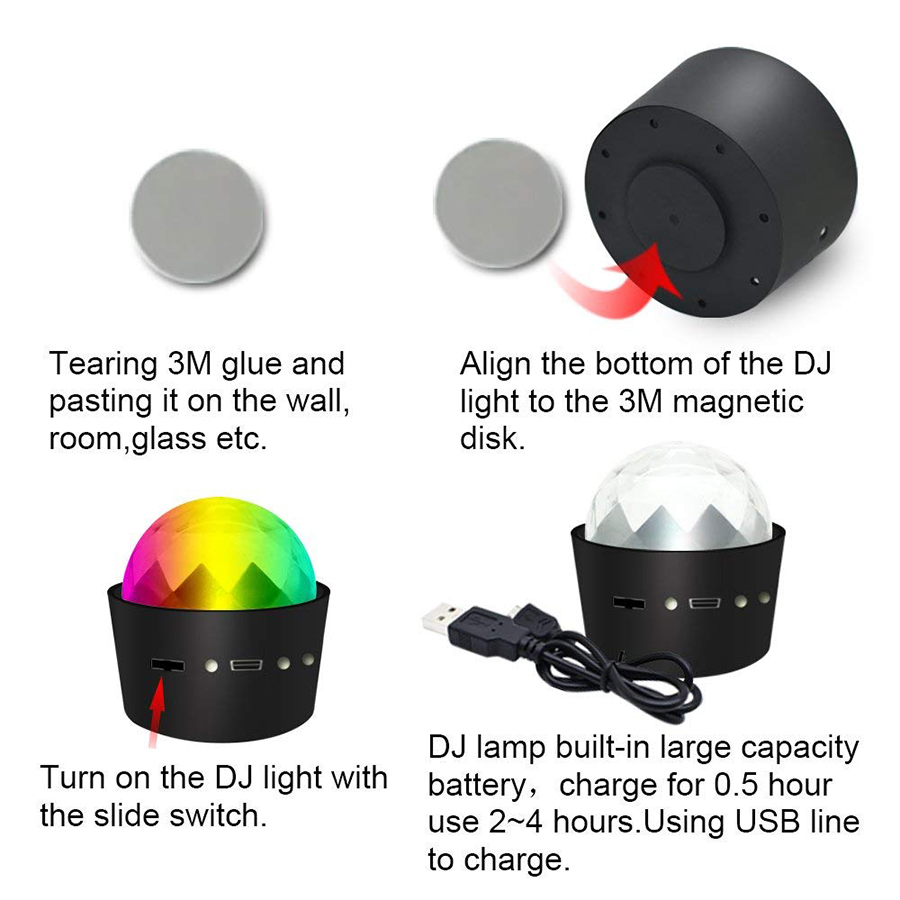 Portable Mini 3W 5V USB Rechargeable RGB Disco Ball Party Lights Sound Activated Led Stage Light for Car Birthday DJ Club in Stage Lighting Effect from Lights Lighting