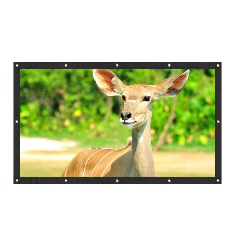 ALLOYSEED Portable 60/72/84/100/120 inch 3D HD Wall Mounted Projection Screen Canvas 16:9 LED Projector Screen For Home Theater 20
