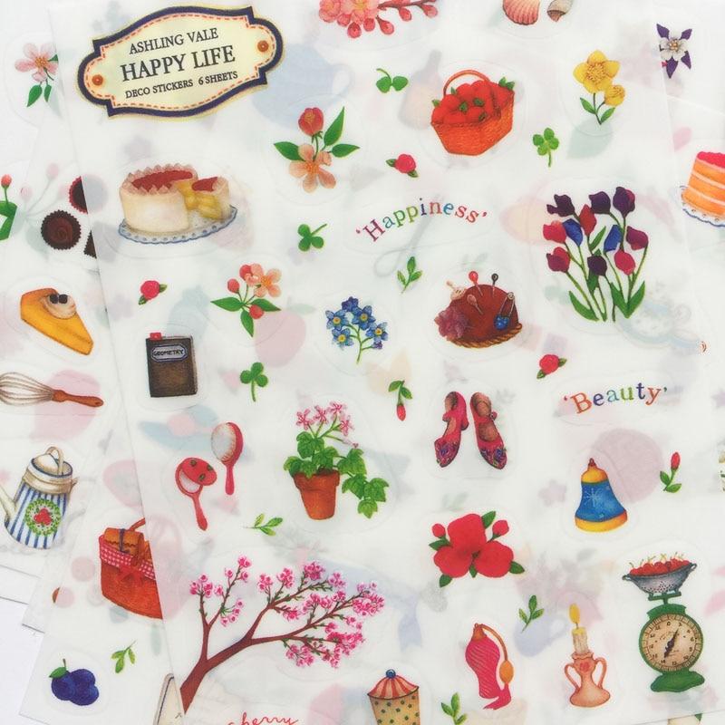 6 Sheets /Pack Fresh Flower Garden Adhesive Stickers DIY Album Decor Student Stationery Sticker Set