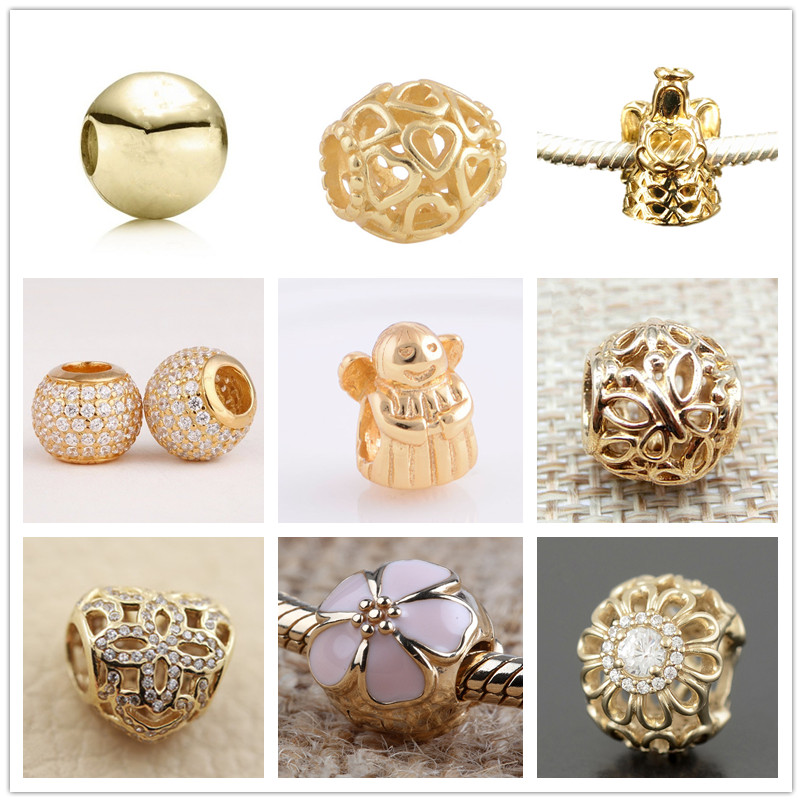 14 k Papillon En Or Massif Cerise Blossom Charmes clip perles Fit 925 sterling argent bracelets collier DIY Assessories GD041