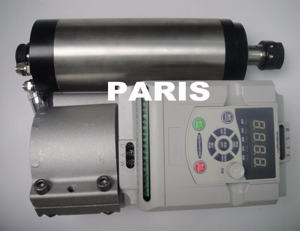 ER 20 2.2KW AC220V vesijahutusega spindimootor, 24000 RPM, 400 HZ + 2,2 KW VFD muundur + spindli klamber 80mm