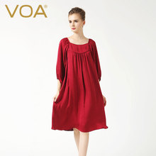 VOA Pure Silk Red Women's Seven Minutes Sleeve Dress 2017 Spring New Women's Wear Loose Silk A Word Vestido A6336