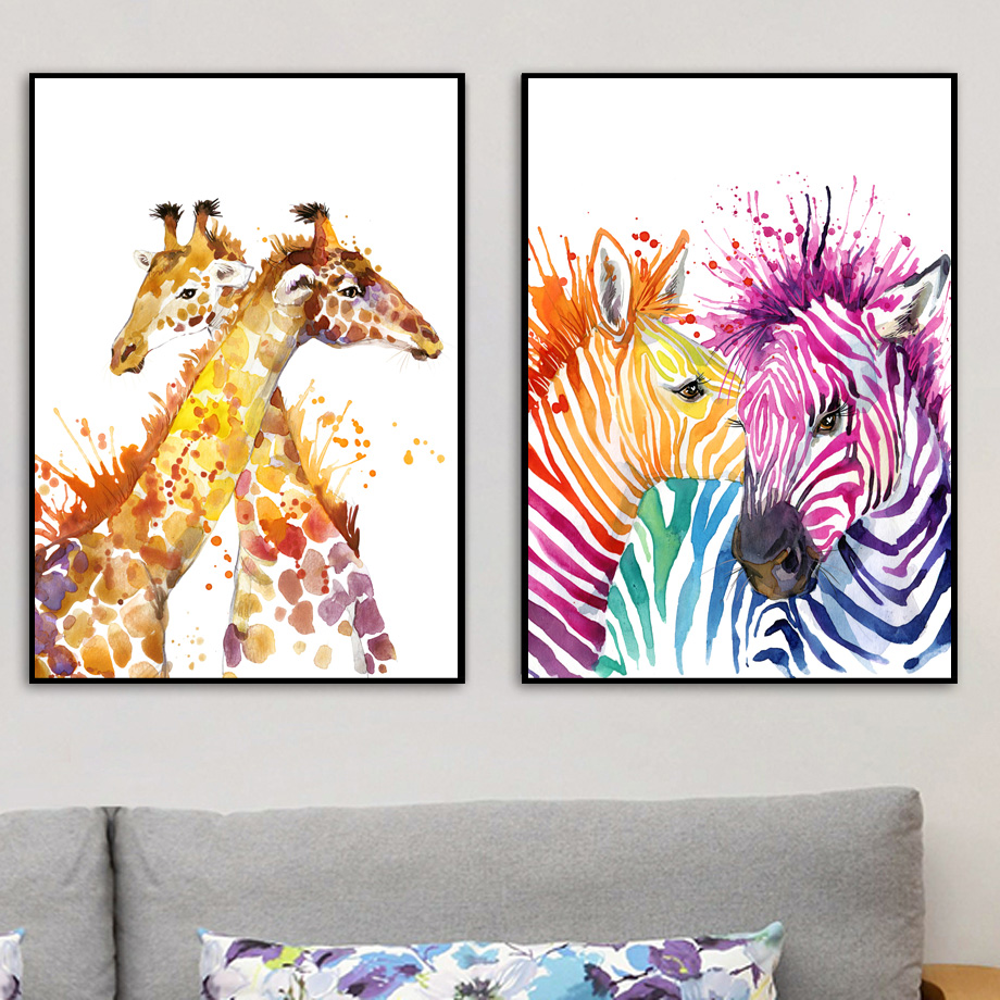 Watercolor Deer Cat Zebra Wall Art Canvas Painting Nordic Posters And Prints Animals Wall Pictures Kids Room Pop Art Home Decor in Painting Calligraphy from Home Garden