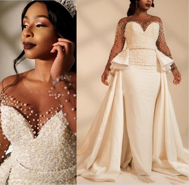 US $179.1 10% OFF|2019 African Mermaid Plus Size Wedding Dresses Overskirts  Sheer Neck Long Sleeve Pearls beaded Garden Country Bridal Gowns-in ...