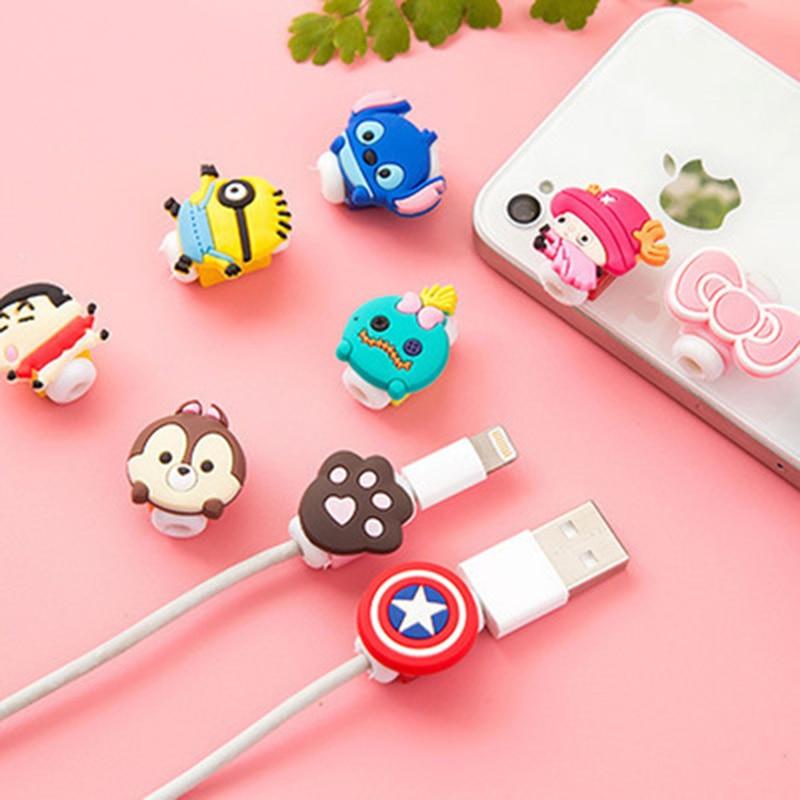 1 Uds cable USB con dibujos animados auriculares Protector de línea para iPhone 5 S SE 6 6S plus 7 plus línea de carga protección para cable de datos