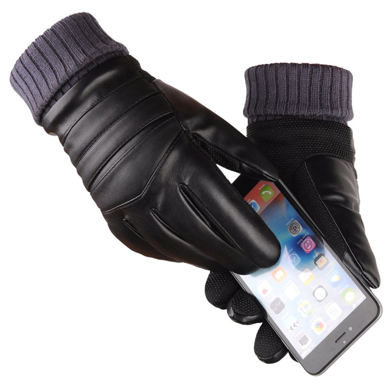 Mens Long Leather Gloves Wool Warm Touchscreen Gloves Waterproof Fur Mittens Heated Cashmere Gloves Motorcycle Gants 2018 Winter