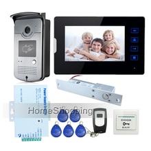 New 7″ Touch Screen Video Door Phone Intercom Kit + 1 RFID Access Bell Camera + 1 Monitor + Drop Bolt Door Lock Free Shipping
