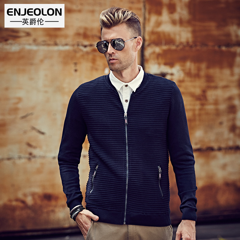 font b Men s b font autumn and winter clothing fashion slim stand collar baseball