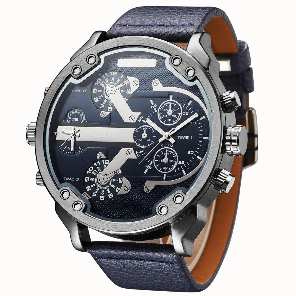 Famous Designer Mens Watch Top Brand Luxury Quartz-Watch Oulm Leather Strap 2 Time Zones Military Quartz Clock relogio masculino