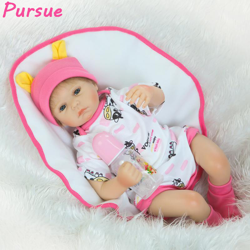 Pursue 22/55cm Lifelike Reborn Doll for Children Silicone Reborn Baby Dolls for Sale bebe reborn silicone realista(Blue Eyes)
