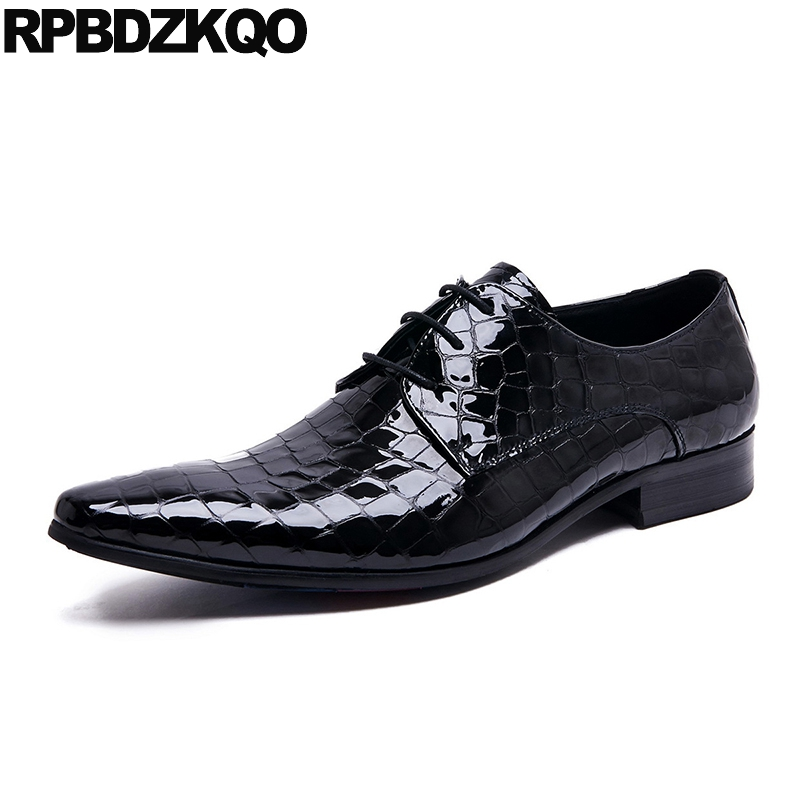 Dress Spring Office Snake Formal Genuine Leather Men Shoes Italian Black Prom Oxfords Crocodile Lace Up Skin Party Snakeskin Formal Shoes
