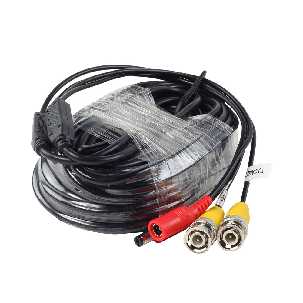 18M/60ft CCTV Video Power BNC Cable DVR Wire Cord + DC plug Power extension cable for CCTV Camera and DVRs coaxial Cable 1pcs high quality 1 5m cctv cable bnc male video power cable for cctv camera and dvrs black color coaxial cable free shipping