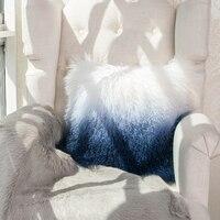 Tibet sheepskin curly  fur cushion 50cm,  gradational blue color soft  sheep fur throw for furniture , real  Mongolian sheep fur