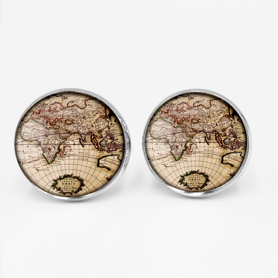 Black Earth World Map Oceania North America Pacific Glass Cufflinks Plated Retro World Map Coarse Handmade Fashion Jewelry in Tie Clips Cufflinks from Jewelry Accessories