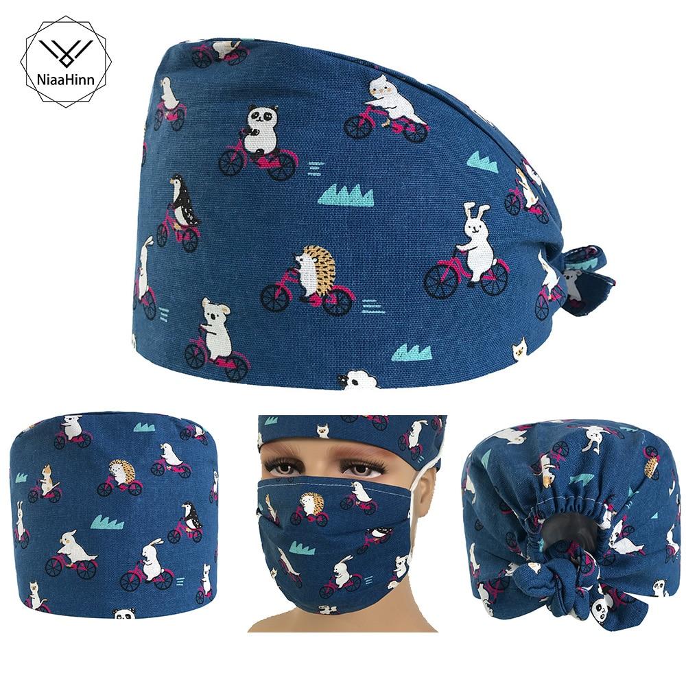 Panda Riding Printing Surgical Surgery Hat +Mask Women's Nurses Printing Scrub Cap Doctor Hats Unisex Working Beauty Cap New