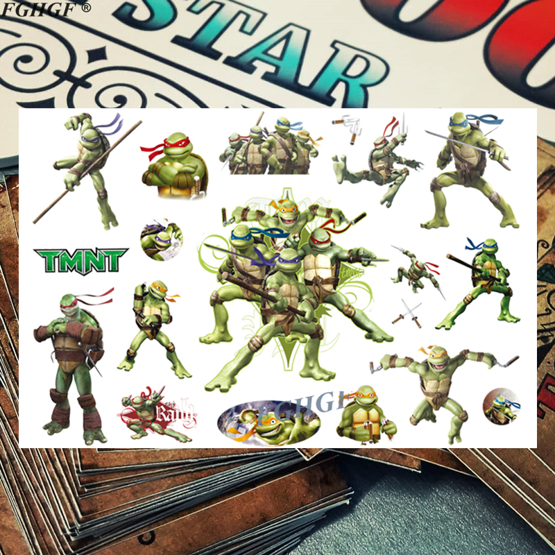 Cratoon Cute Ninja Turtle Child Temporary Body Art Flash Tattoo Sticker 17*10cm Waterproof Painless Tattoo Free Shipping