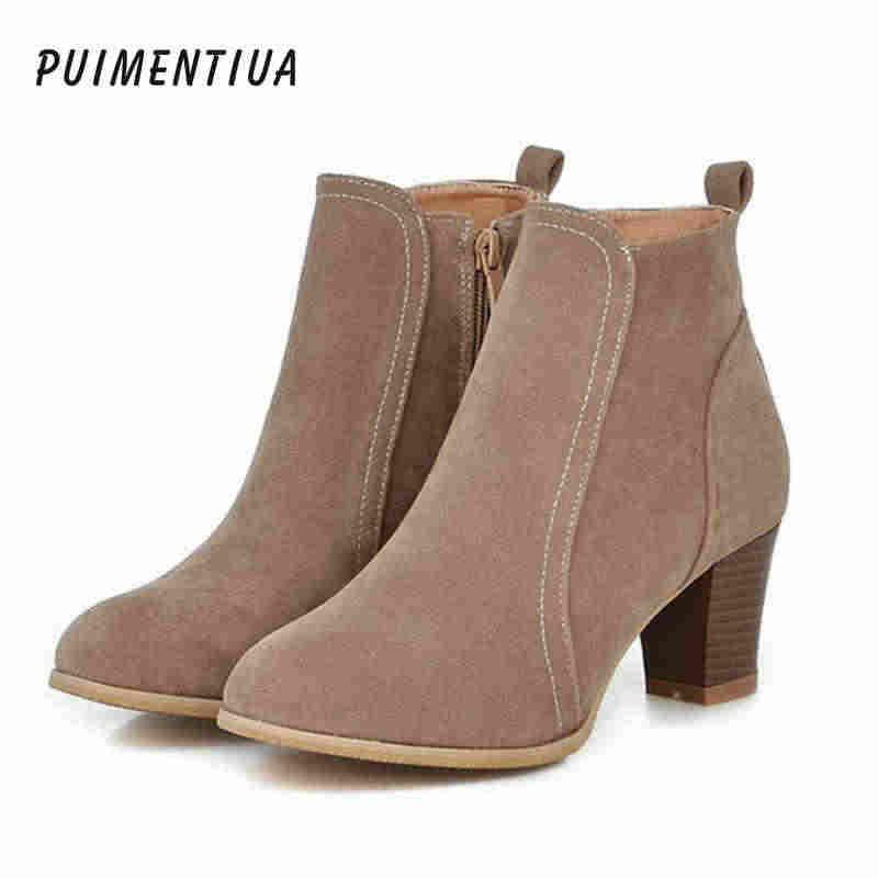 Puimentiua 2019 Kadın Çizmeler Akın yarım çizmeler İlkbahar Sonbahar Kadın Çizmeler Bayanlar Parti Batı Streç Kumaş Çizme Artı Boyutu 35- 42