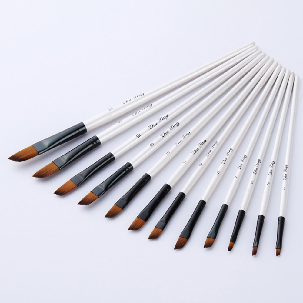 12 Artist Watercolor Painting Brushes Brush Oil Acrylic Flat & Oblique Paint Kit