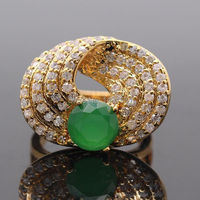 Exquisite Special Created Emerald AAA CZ Gem Gold Color Ring Engagement Wedding Jewelry For Women