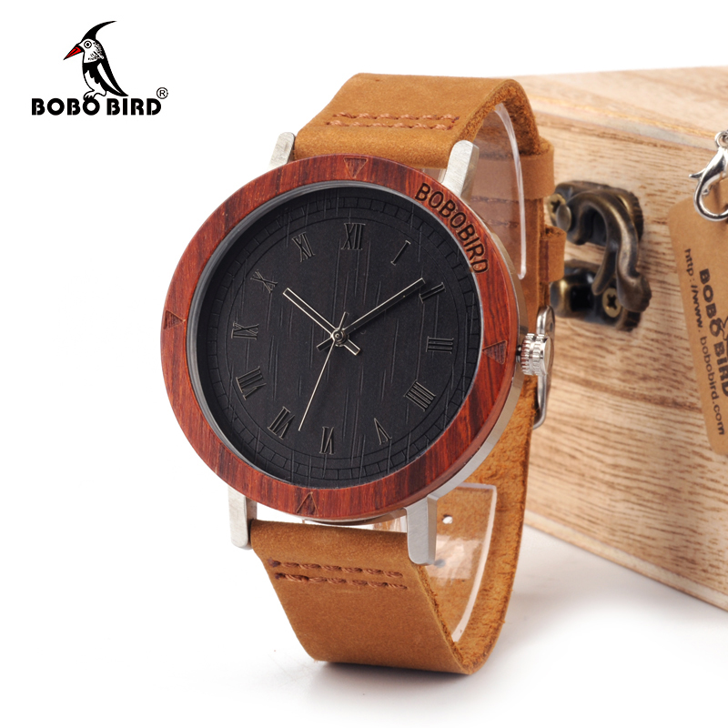 BOBO BIRD WK06 Classic Red Sandalwood&Steel Watch Rome Number Dial Face Soft Leather Strap Mens Watch As Gift Accept OEM Relogio
