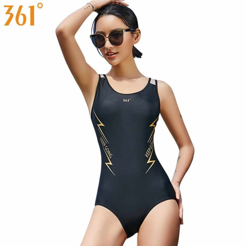 4945d3a3f3bb6 361 Sports Black Swimwear for Women 2019 New One Piece Swimsuit  Professional Pool Swimming Suit Female