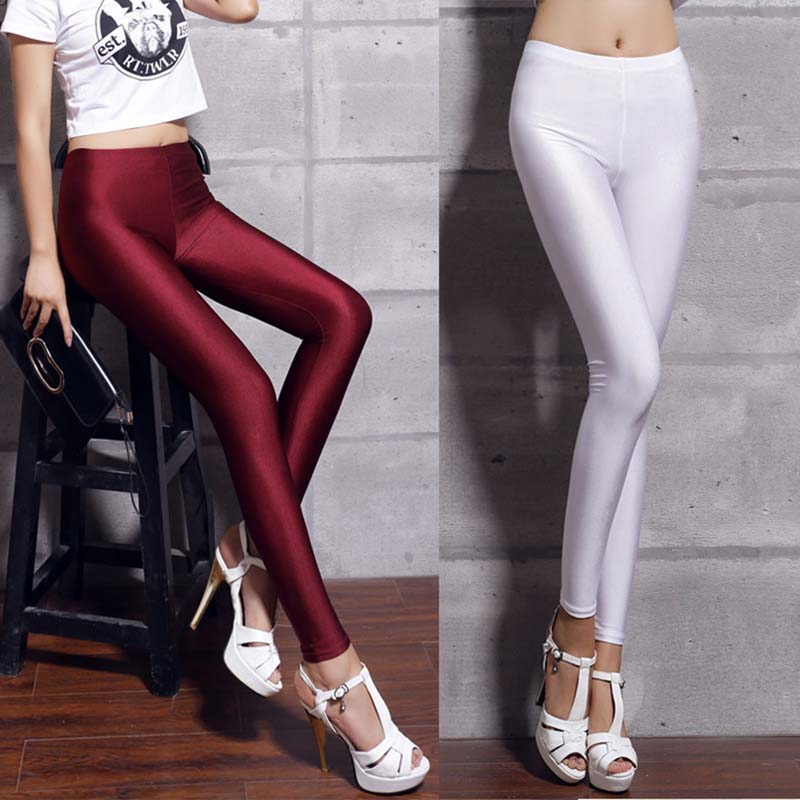 Hot Sale 2019 Leggings Women Fluorescent Shiny Pant Leggings Woman Large Size Spandex Shinny Elasticity Casual Trousers for Girl