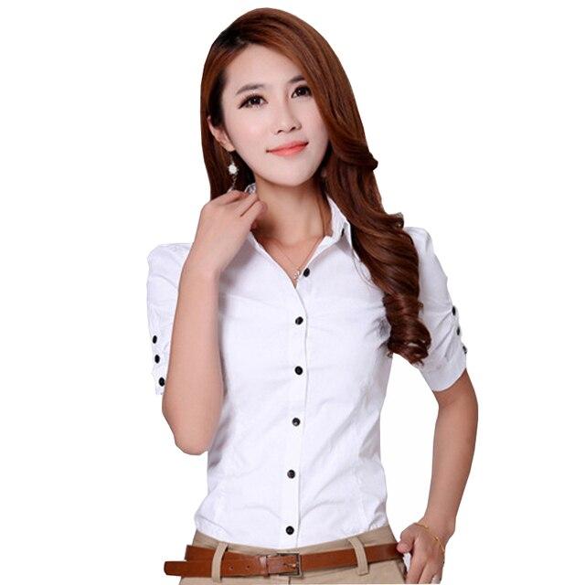 Fashion Office Lady White Cotton Blouse Plus Size S-3XL Botton Decor Solid Color Women Career Slim Shirts