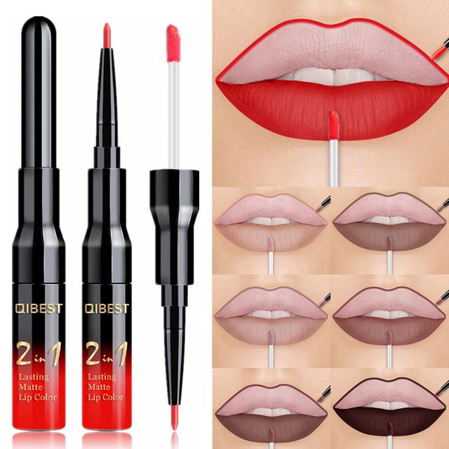 20 Color Liquid Lipstick Pink Purple Red Lip Long-lasting Waterproof Nude Mate Lips Liner Pencil Double-end Matte Lipsticks