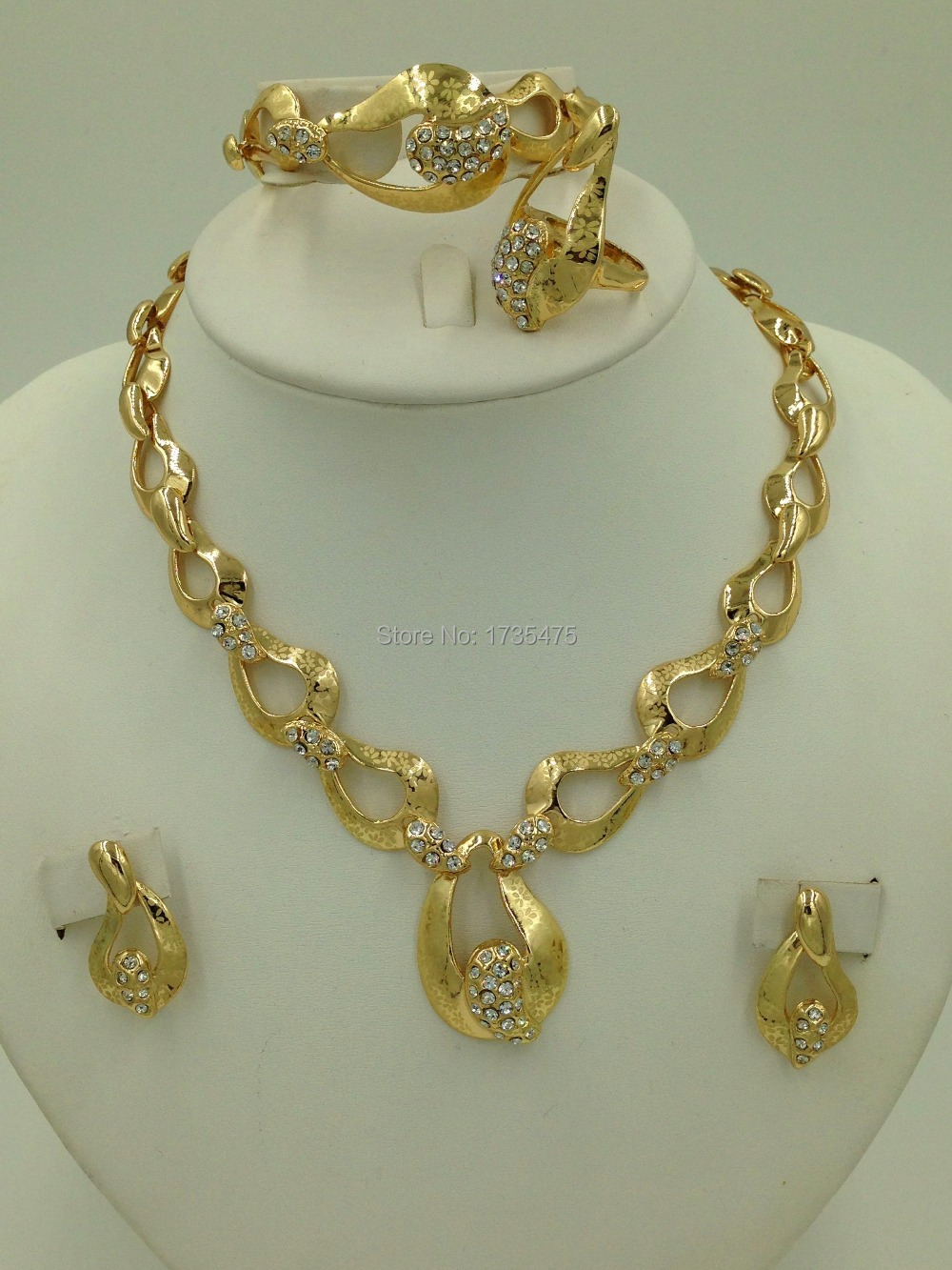 Charms Style 18K Gold Plated Jewelry Chunky Laser Flower Necklace Set Women Wedding Jewelry Set Dubai Gold Plated-in Jewelry Sets from Jewelry u0026 Accessories ... & Charms Style 18K Gold Plated Jewelry Chunky Laser Flower Necklace ...