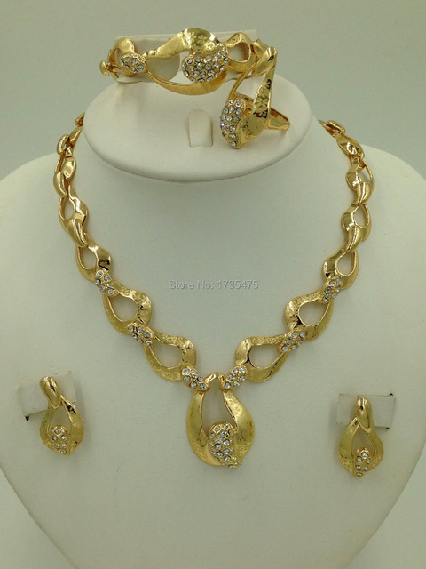 Charms Style 18K Gold Plated Jewelry Chunky Laser Flower Necklace Set Women Wedding Jewelry Set Dubai & Charms Style 18K Gold Plated Jewelry Chunky Laser Flower Necklace ...