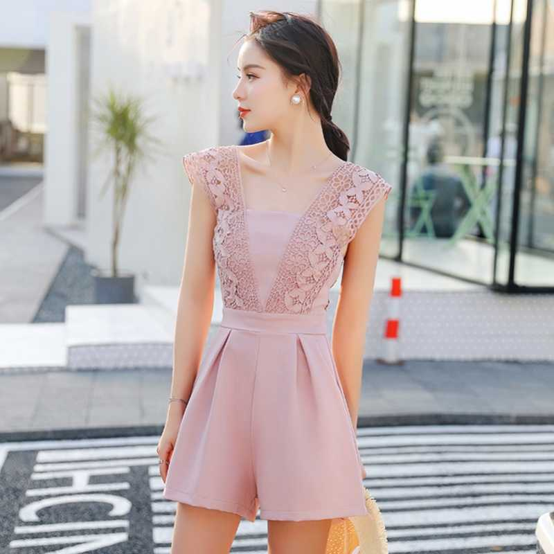2019 Sexy Jumpsuit Women V-neck Lace Crochet Backless Zipper Playsuit Wide Leg Overalls Rompers Women Jumpsuit macacao S85698