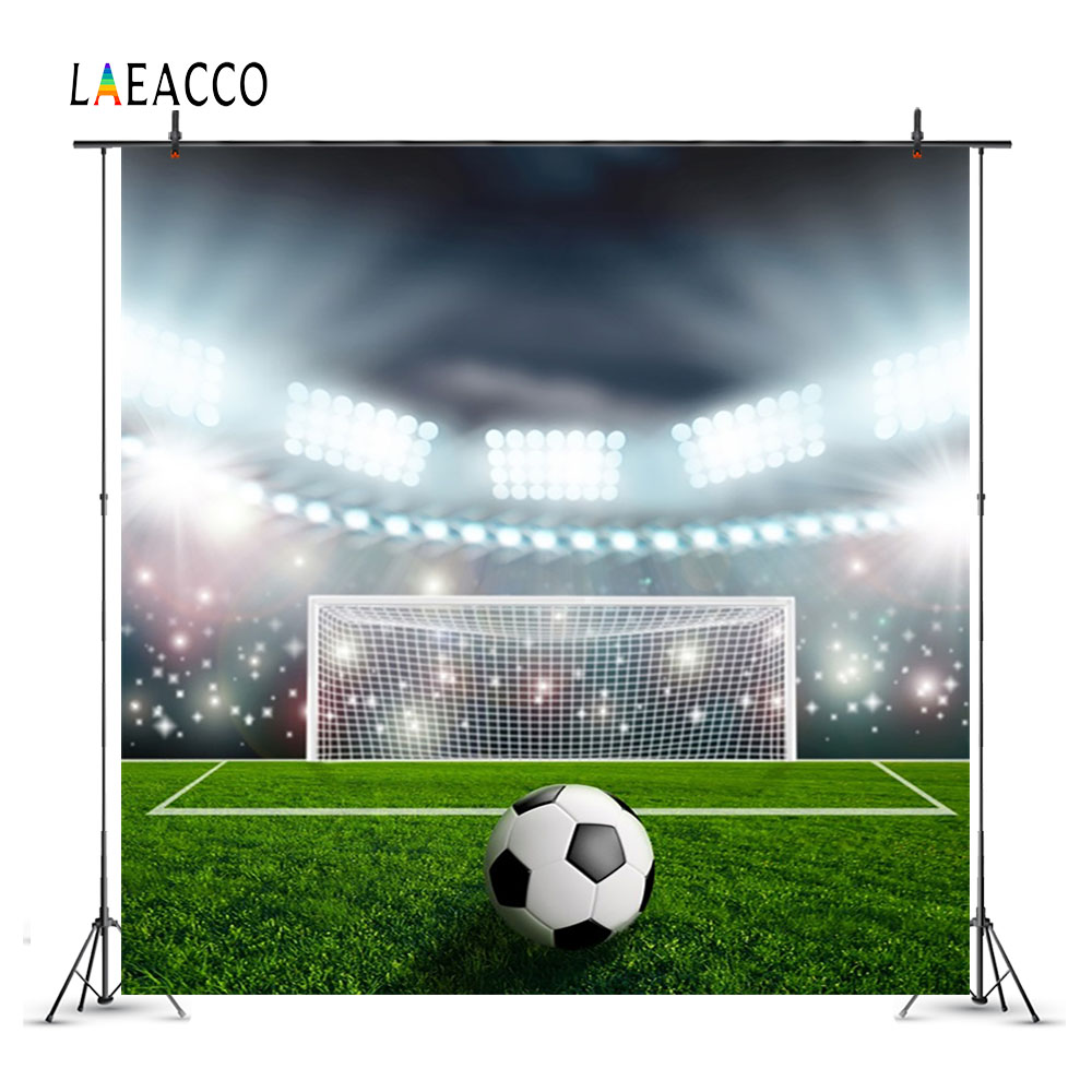 Laeacco Bright Stadium Soccer Field Scenery Baby Photography Backgrounds Customized Photographic Backdrops Prop For Photo Studio football field artificial grass soccer themed backgrounds vinyl cloth computer print wall nfl backdrops