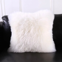 Natural beige white sheepskin fur back cushion single side fur decoration lamb sheep fur pillow throw with core S002