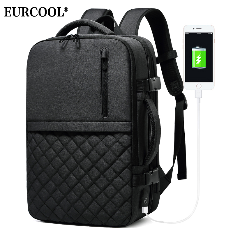 EURCOOL 2019 NEW Large Capacity Travel Backpack for Men Business Backpacks USB Charging Water Repellent Backpack