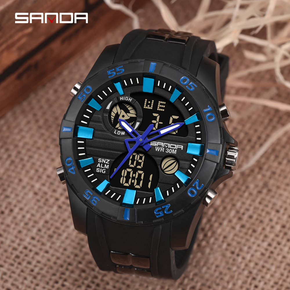 SANDA Men's G Style Sports Watches Men LED Dual Display Digital Military Wristwatches Male Waterproof Clock Relogio Masculino
