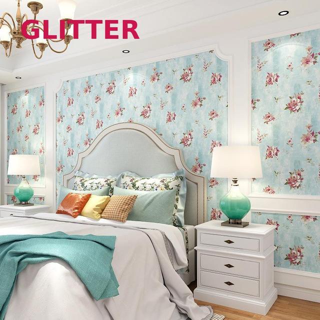 amerikaanse blauw bloem behang 3d relif kinderkamer behang vogels bloemen pvc roze behang voor slaapkamer kamer