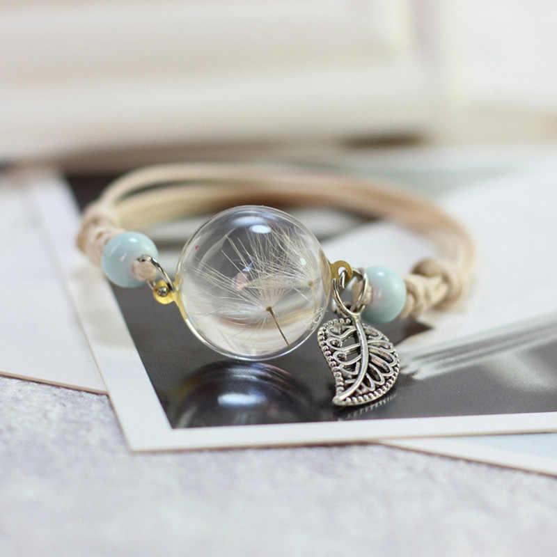 2018 Hot Handmade Ceramic Bead Crystal Glass Dried Flower Dandelions Ball Metal Leaves Weave Bracelet Women Terrarium Jewelry