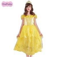 Erapinky Children Costume Girls Dress Belle Dress Children Dresses Birthday Party Elegant Shoulderless Yellow Princess Dress