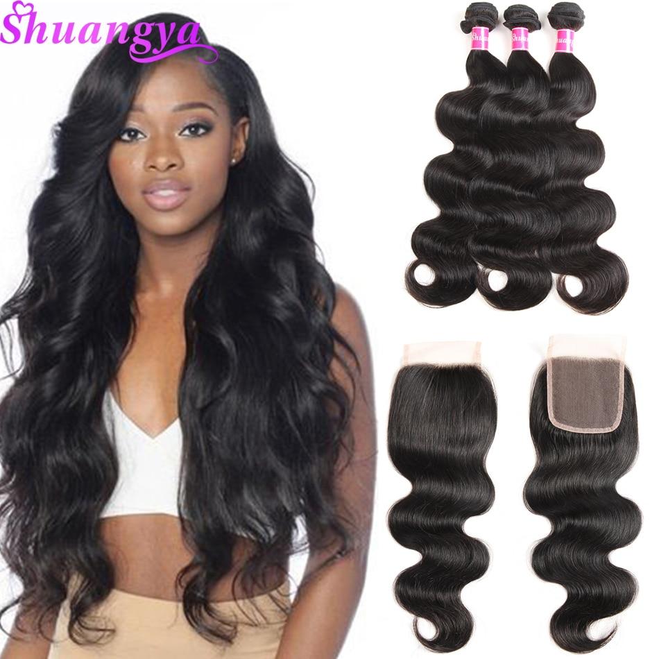 Brazilian Body Wave Hair 3/4 Csomagok bezárása 100% -os emberi - Emberi haj (fekete)