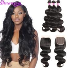 Brazilian Body Wave Hair 3/4 Csomagok bezárása 100% -os emberi hajcsomagok zárása Shuangya Remy hajcsomagok Ingyenes házhozszállítás