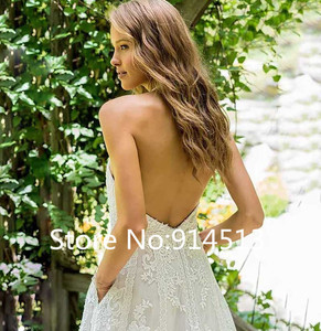 Image 4 - 라인 웨딩 드레스 홀터넥 넥 레이스 아플리케 신부 드레스 2019 백리스 맞춤 제작 웨딩 드레스 vestido de novia