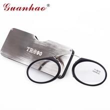 Guanhao Magnética de Titanio Gafas de Lectura con el Caso Clip de La Nariz Redonda Óptica Gafas De Dioptrías Gafas Graduadas Gafas de Lectura