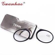 Guanhao Magnetische Leesbril Met Case Neus Clip Ronde Optische Frame Dioptrie Recept Brillen Mannen Vrouwen Draagbare Bril