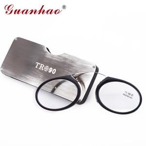 Image 1 - Guanhao Magnetische Leesbril Met Case Neus Clip Ronde Optische Frame Dioptrie Recept Brillen Mannen Vrouwen Draagbare Bril