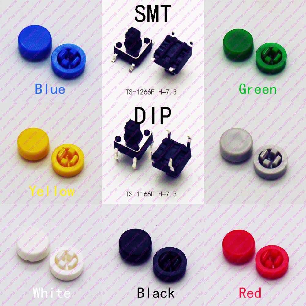 10PCS 6X6 H=8.5MM With Cap Dia.8MM Momentary Tact Button Top Round Head 4PIN DIP& SMD Tactical Keys Switch Mini Push Button 10pcs 7mm thread multicolor 2 pins momentary push button switch