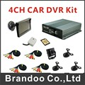 Free shipping Car DVR, 4 cameras, 5inch monitor, 32GB sd card, used for taxi, trainning car, truck,uber car