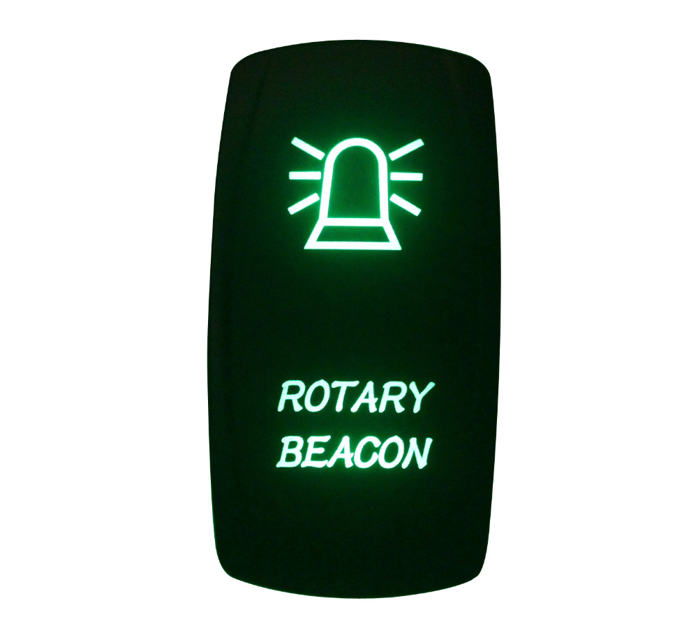 DC 12V 24V ROTARY BEACON Rocker Switch GREEN Led lamp 5 Pin ON/OFF SPST Waterproof IP66
