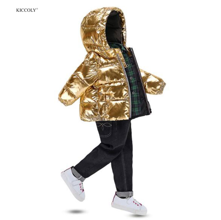 KICCOLY Children Winter Down Jacket For Girl Silver Gold Glossy Hooded Thick Coat Baby Boy Clothing Outwear kids Parka Jacket immdos winter new arrival down jacket for boy children hooded outwear kids thick coat baby long sleeve pocket fashion clothing page 3