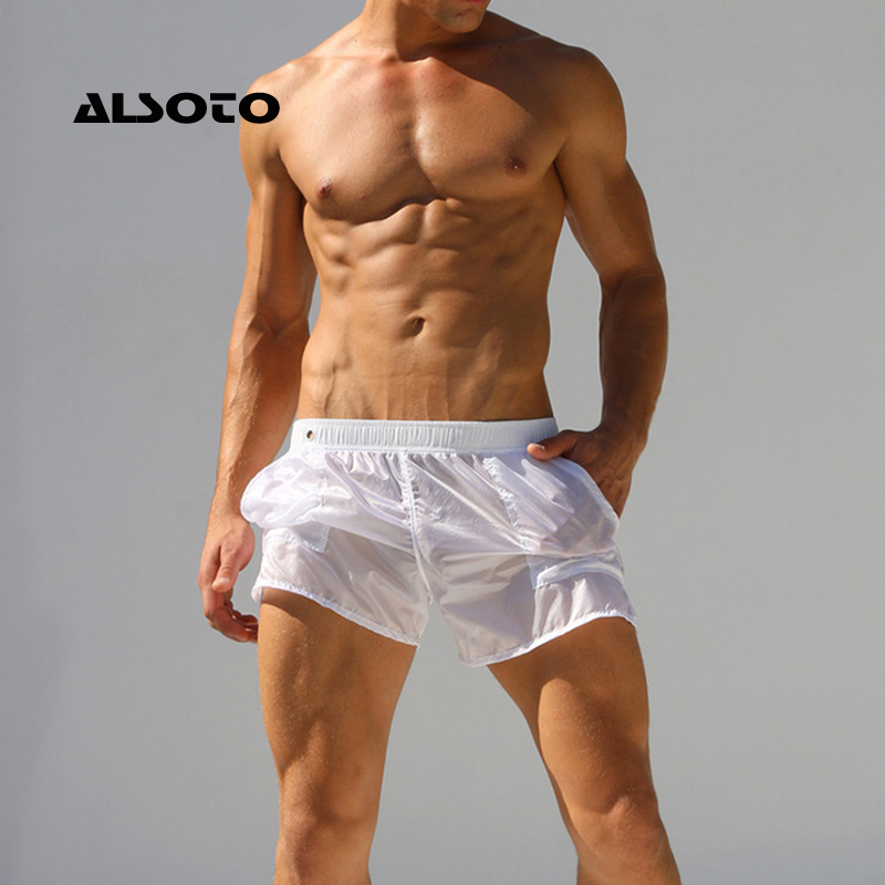 ALSOTO   Board     Shorts   Men Fully Transparent Sexy Casual Solid Beach   Shorts   Beach Surf Swimming   Shorts   Man Maillot De Bain Beach